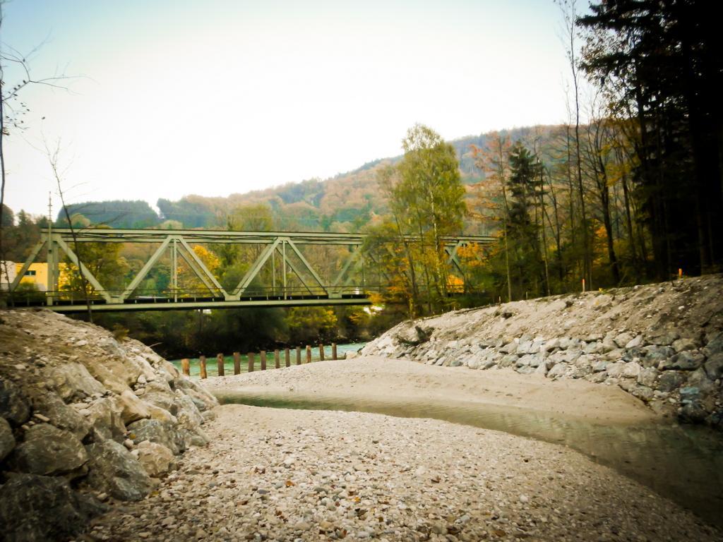 Viele Tonnen Schotter hat das Oktober Hochwasser in die Alte Traun transportiert ....