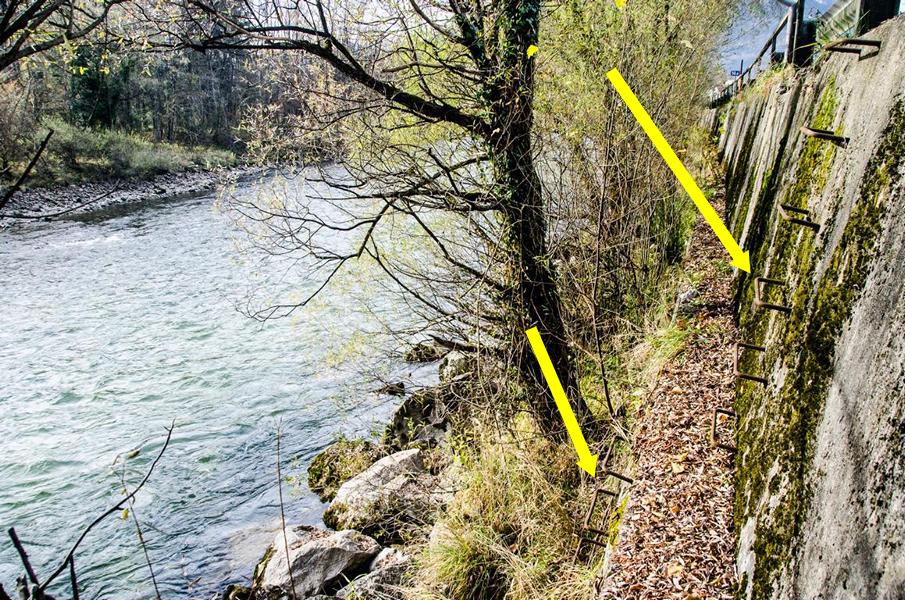 """Auf Höhe """"Gasthof zum Bären"""", der direkt an der Jainzenbachmündung liegt, gibt es eine Aufstiegs-Abstiegsmöglichkeit zur Traun"""