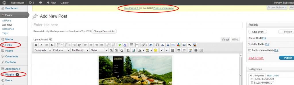 WordPress Dashboard aus Version 3.4