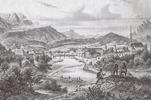 """Ischl um 1855 - mit der Traun und man sieht den """"Saline Polster"""""""