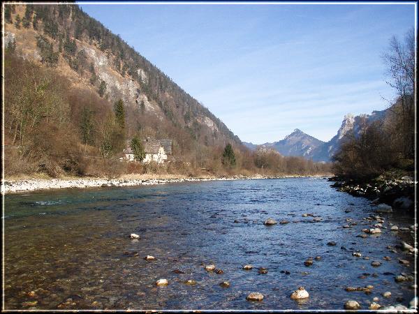 Die Ebenseer Traun - auf Höhe Anwesen Steinkogl im Winter
